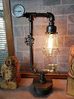 Handcrafted Industrial style Clay pipe Desk,table,steampunk home decor lamp, lighting