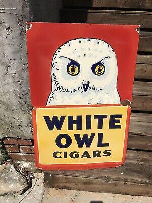Old White Owl Cigar Porcelain Sign