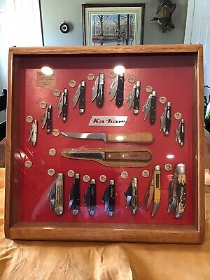 Vintage Kabar Pocket Knife Display Case Merchandiser With 19 Knives 1950s