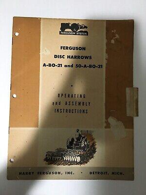 Vintage Ferguson Disc Harrows A-bo-21 And 50-a-bo-21 Operating Manual