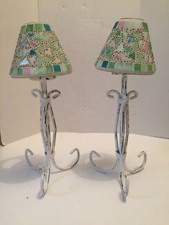 Pair 2 shabby chic tea light candle holders