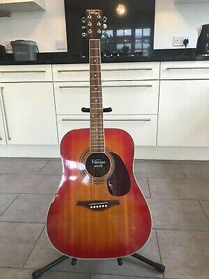 Vintage acoustic guitar V400 CSB Sunburst, with guitar stand and guitar bag