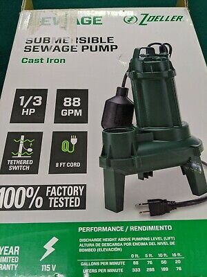 Zoeller 1261 1261-0001 Submersible Sewage Pump Cast Iron 13hp 88gpm - New