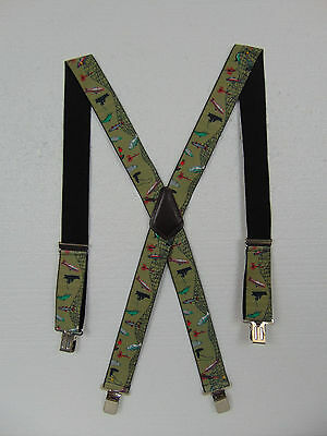 "Fly Fishing Suspenders Braces Green Adjusrable Heavy Duty 2"" wide Elastic"
