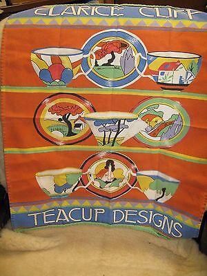 "Clarice Cliff Dish Towel Irish Linen Past Times Teacups Teapots Printed 24""x 19"""