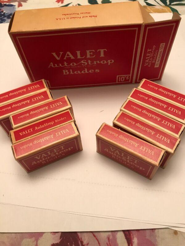 Vintage VALET AUTO STROP RAZOR BOX & 10 Packs of 10 Razor Blades Sealed NOS