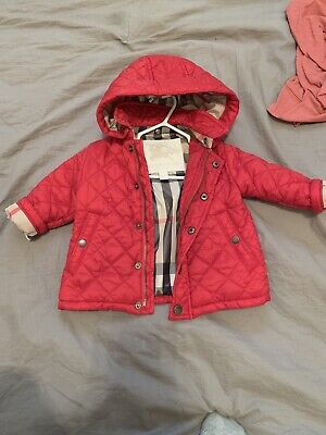 NEW $195 Burberry Infant Baby Quilted Red Jacket Coat Puffer Parka Size 6months