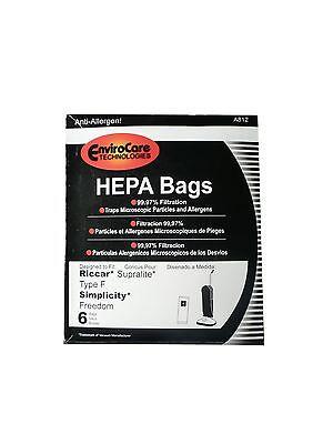 6 Riccar HEPA Type F Vacuum Bags, Simplicity, Freedom, Supralite, Canister Va...