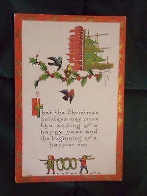 Christmas Tree Poem (Vintage Postcard Christmas Holiday Poem, Christmas Tree, Holly And)