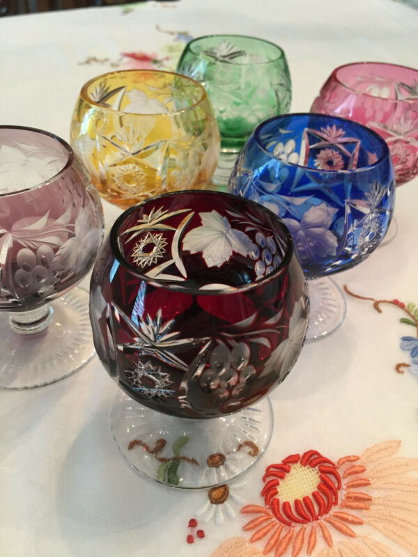 """6 NACHTMANN TRAUBE 3"""" BRANDY SNIFTERS MULTIPLE COLORS CUT TO CLEAR LEAD CRYSTAL"""