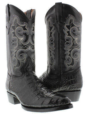 Mens Black Crocodile Belly Pattern Leather Casual Western Co
