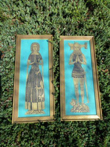 """Large """"Sir & Lady Foxley"""" Gilded Brass Rubbings - A Pair"""