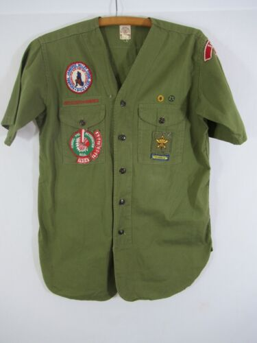 Vintage 50s Boy Scout Shirt with Tunnel Mill Valley Forge Patches Salem Indiana