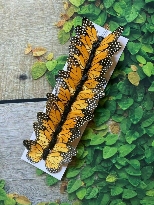 12 Fabric Orange Monarch Butterflies 3inch- Artificial Silk orange butterflies