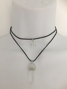 Clear Quartz Wand Moon Short Layer Choker Necklace Cord crystal healing*jewelry