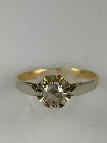 Victorian 18K Antique Gold Ring with Rose Cut Diamond, very old diamond cut!