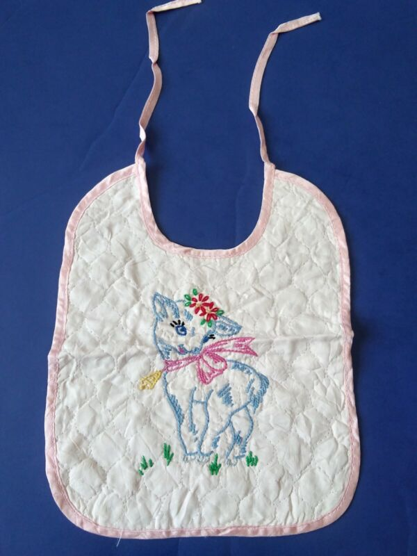 Vintage 1950s Handmade Embroidered Baby Doll Bib Goat? With Bell