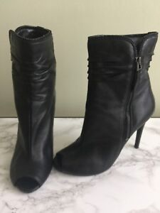 Guess leather stiletto open toe bootie