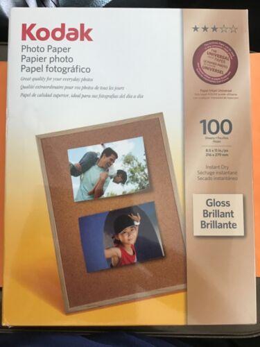 Kodak Photo Paper Gloss Instant Dry Inkjet White 100 Count Sealed Brand New !