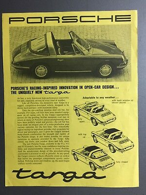 1966 / 1967 Porsche 911 Targa Sheet, Brochure, Prospekt English RARE!! Awesome