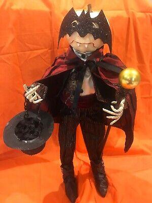 Bethany Lowe Halloween Love At First Bite Pumpkin Head Dracula w/Bat Mask-Rare