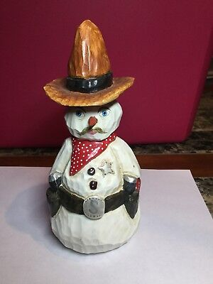 "Paul Bolinger Snowman Sheriff Cowboy Gunslinger Statue 8"" Height Christmas - Cowboy Snowman"