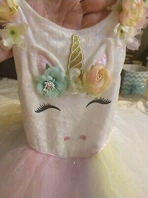 Toddler Rainbow Unicorn Dress w/Headpiece Halloween Costume 4T-5T