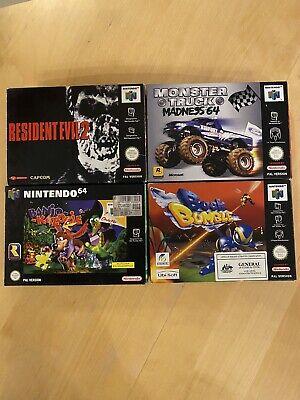 4 Boxes Evil Monster Banjo Buck N64 Nintendo 64 Sammlung Lot Top Near Mint Pal