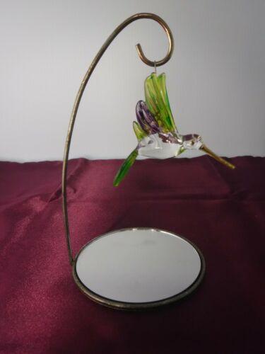 Hand Crafted Art Glass Hummingbird Ornament Mirrored Stand Green Purple Gold