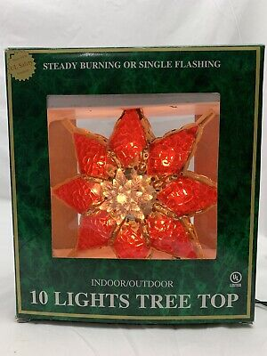 Vintage 10 Light Indoor Outdoor Christmas Tree Top Topper Light Decor Ornament