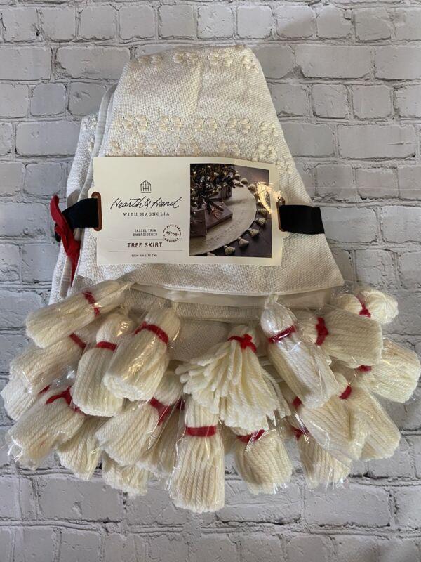 "Hearth & Hand Magnolia 52"" Embroidered Round Tassel Tree Skirt Sour Cream"