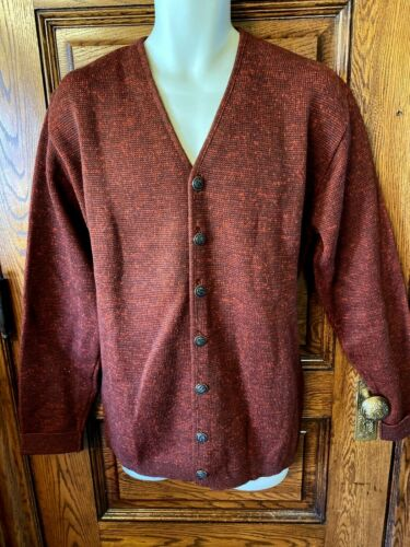 "Vintage KASO KNIT 100% Worsted Wool ""Mr Rogers"" Cardigan SWEATER, Mens Sz L LONG"