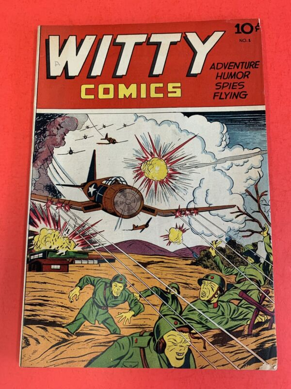 WITTY COMICS #1  (1945) JAPANESE WAR COVER- VINTAGE GOLDEN AGE COMIC BOOK