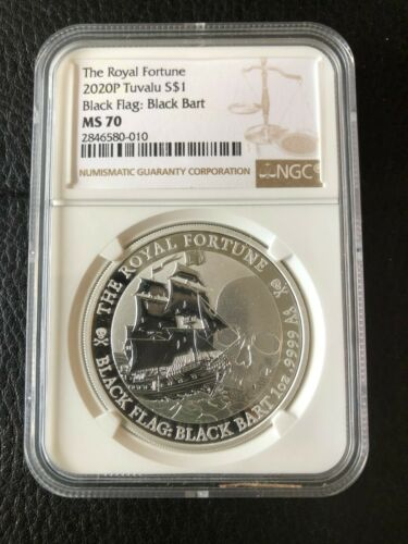 2020 Tuvalu Royal Fortune 1 oz .999 Silver Black Flag: Black Bart NGC MS70