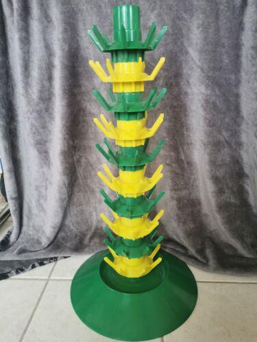 égouttoir à bouteilles - plastique jaune et vert - vintage