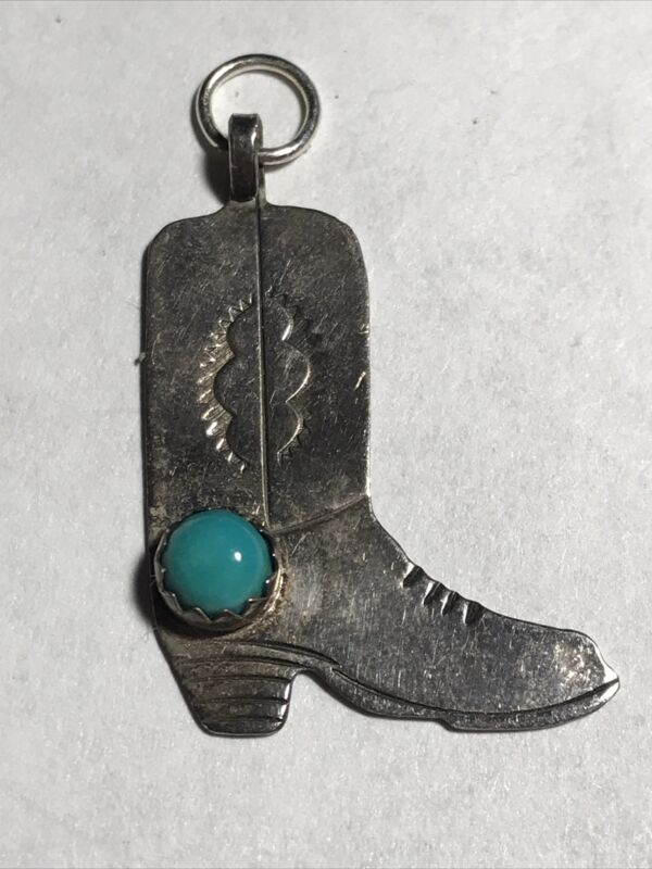 Navajo Sterling Silver Sleeping Beauty Turquoise Cowboy/Girl Boot Pendant/Charm