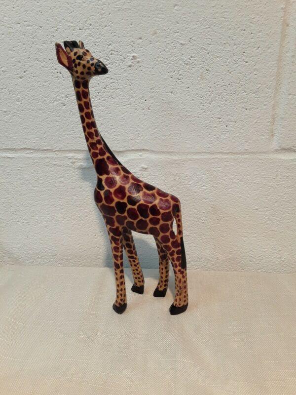 "12"" handcarved Wooden giraffe/ statue/ Figurine African Safari Decor"