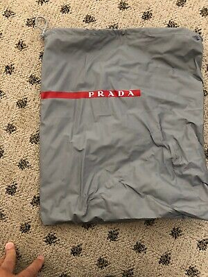 "PRADA Silver Dust Bag Shoe Bag Protective Cover Drawstring 13"" x 13"""