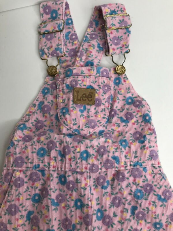 Vintage 90's Lee Floral Overalls 4T Toddler Corduroy Made In USA Excellent