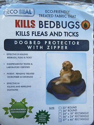 "ECO SEAL Treated Fabric Kills Bed Bugs Flea Ticks Dog Bed Protector Cover 37x46"""