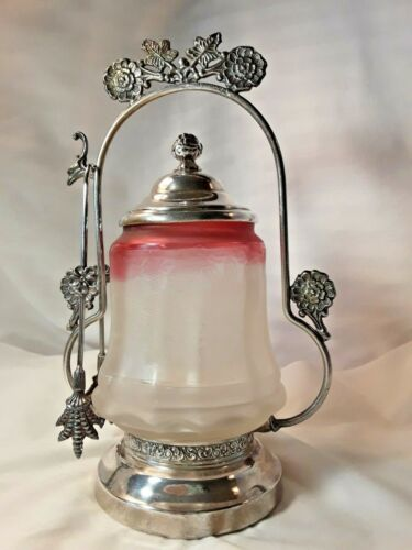 LOVELY! ANTIQUE PICKLE CASTOR with ETCHED LEAVES&VARIGATED  GLASS INSERT