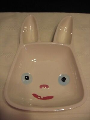 Scary Stories Bunny Rabbit White Ceramic Dish Bowl  (D95) (Scary Bunny)