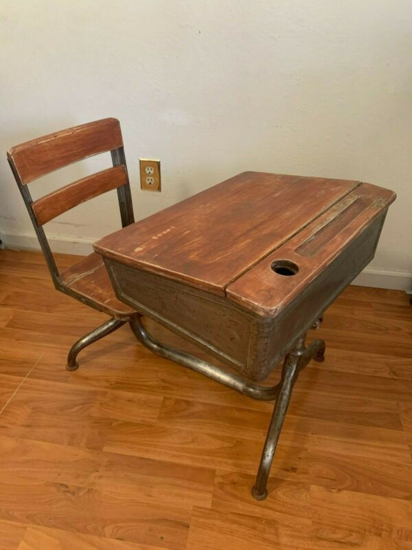 antique American seating company children school desk full of character vintage