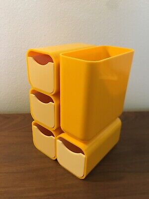 Vtg Space Age Mod Mcm Desk Plastic Yellow Organizer