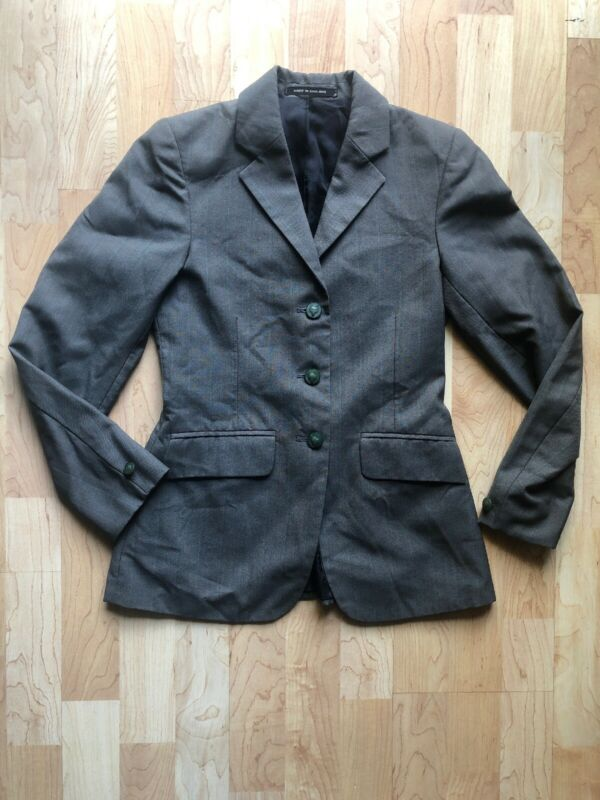 Pytchley Youth Equestrian Hunter Coat Jacket Made in England Wool Green/Stripe
