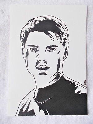A4 Art Marker Pen Sketch Drawing Karl Urban as Dr McCoy from Star Trek Poster