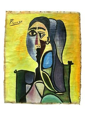PABLO PICASSO STYLE CANVAS ARTWORK SIGNED PICASSO CHRISTIE'S NY STAMP BEHIND for sale  Shipping to Canada