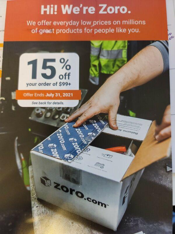 Zoro.com Coupon 15% Off 99$+ EXP. 7/31/2021