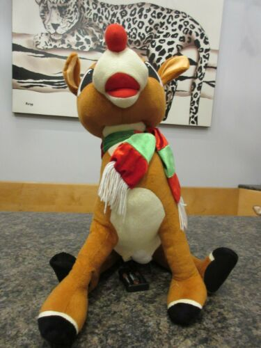 "Gemmy HUGE Rudolph The Red Nose Reindeer 22"" Large Plush Sings Life Size VIDEO"