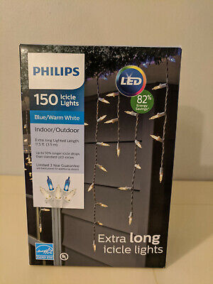 Phillips LED Blue Icicle String Indoor/Outdoor Lights, Lighted Length 11.5 ft